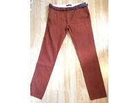 ZARA MAN trousers chinos jeans with belt waist 34 leg 32 burnt orange/rust RRP £45