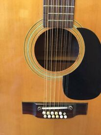 Vintage Saxon 12 String Guitar, new strings, clean and tidy,
