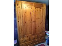Large Pine Double Wardrobe with 5 base drawers