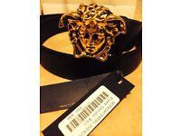 Brand New Versace belt with Gold Medusa Head Buckle.