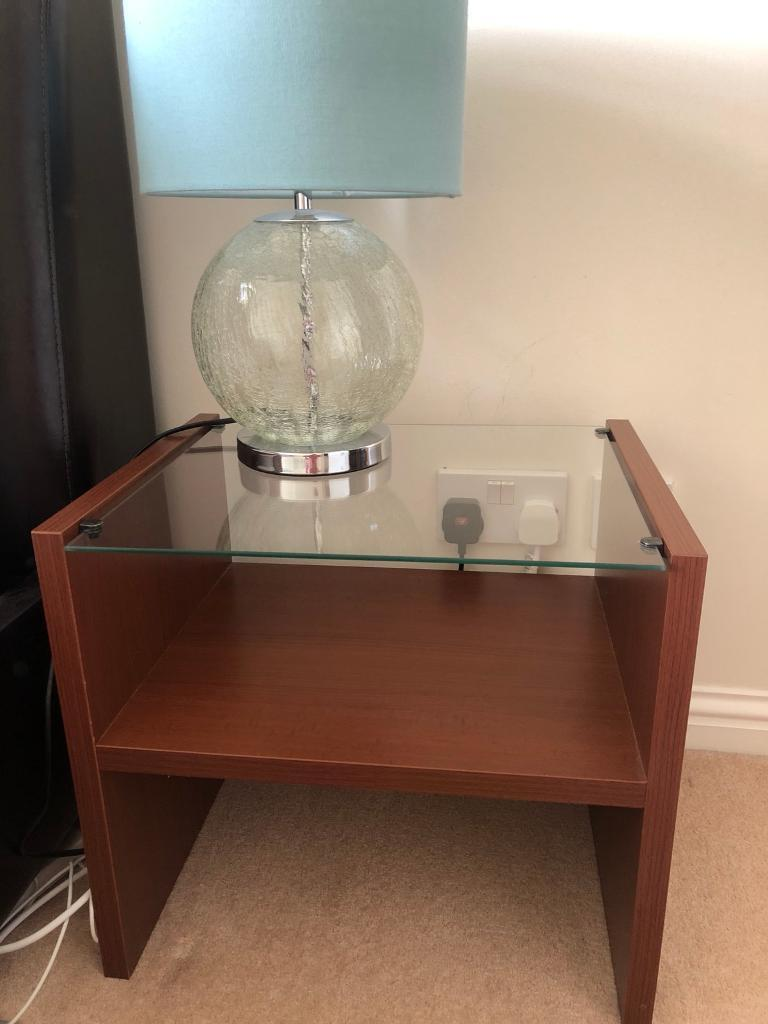 Glass top bedside table x2