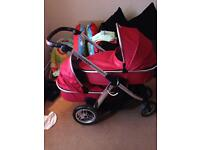 Double pram buggie oystermax red