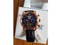 Ingresoll automatic men's watch with blue dial chronograph & blue leather strap