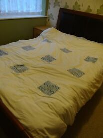 Faux leather Double Bed with Mattress (Hardly Used)