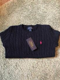 Girls genuine Polo Ralph Lauren cable Knit navy jumper - new with tags - UK age 8-10 (M)