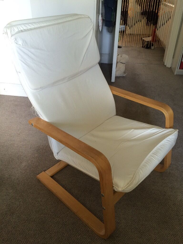 IKEA Poang chair - white fabric / birch wood