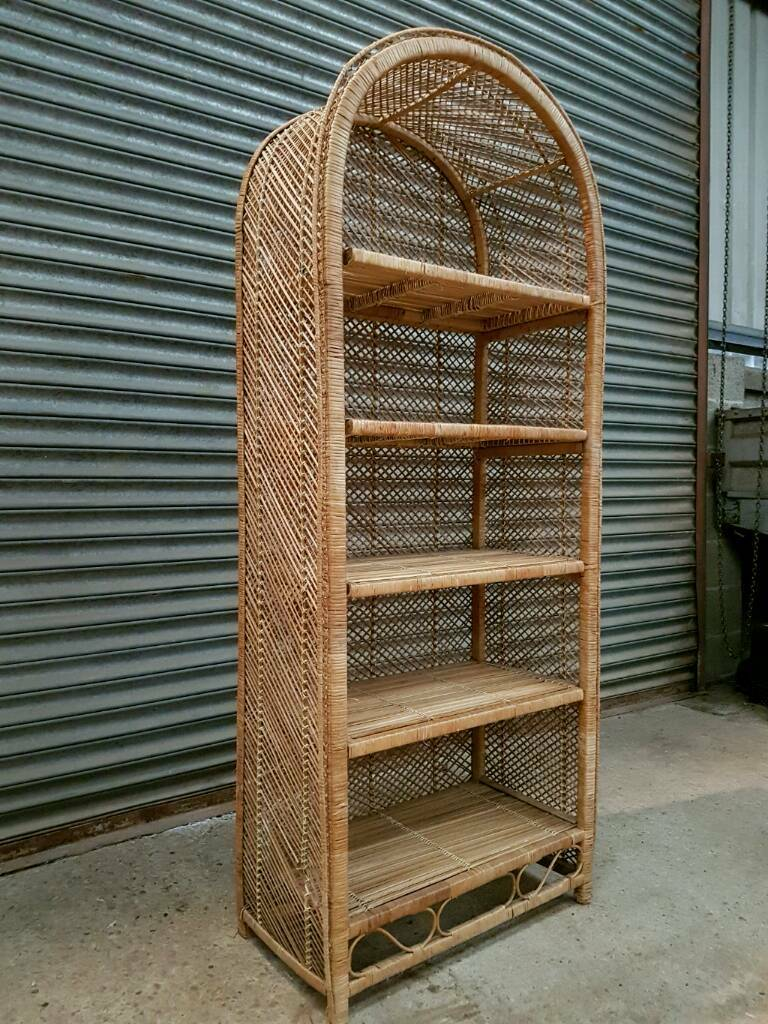 Wicker Bookcase Display Shelf Unit