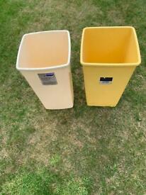 2 x Plastic bins and a mop bucket