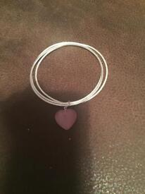 Bracelet with pink heart charm