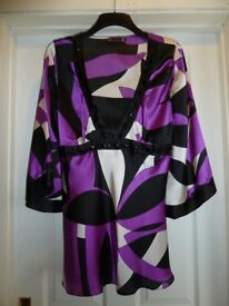 Ladies party top, Size 16. Satin with tie back. Shiny black beads. Hip length. Kimono sleeves.