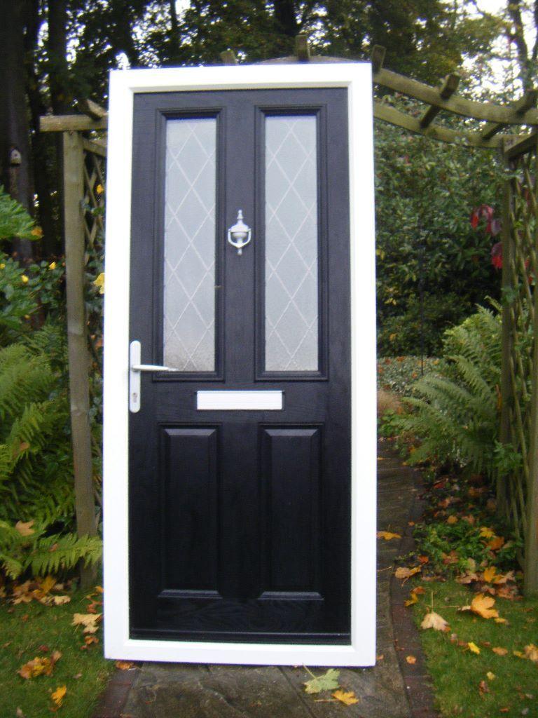 Composite Door Black Exterior White Interiordiamond Lead Glass