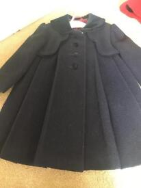 Little Darlings navy wool coat