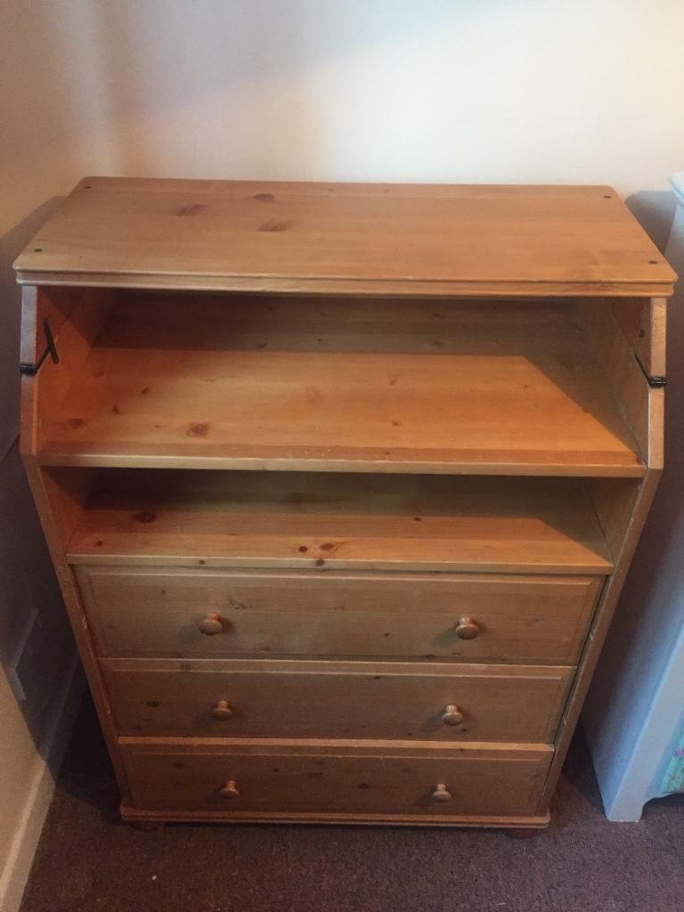 Pine baby change unit with drawers