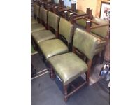 Chairs green leather