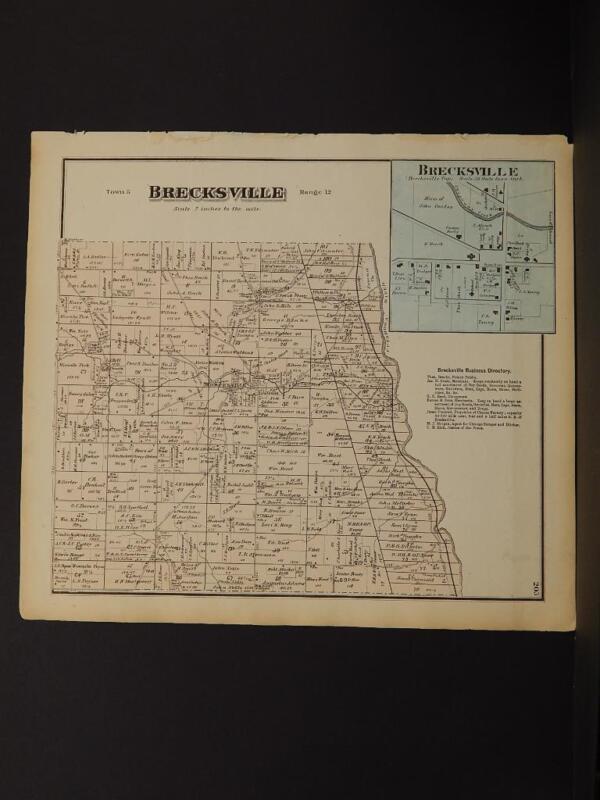 Ohio Cuyahoga County Map Brecksville Township  1874  K11#68