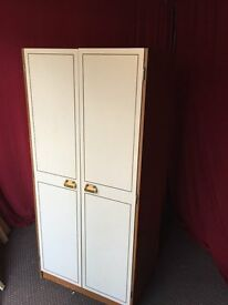 WHITE / BROWN WOODEN WARDROBE,CAN DELIVER