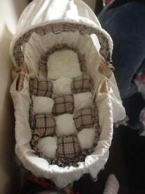 Burberry whicker moses basket