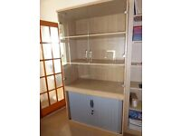 Oak Effect Cupboard with Bookcase and Filer