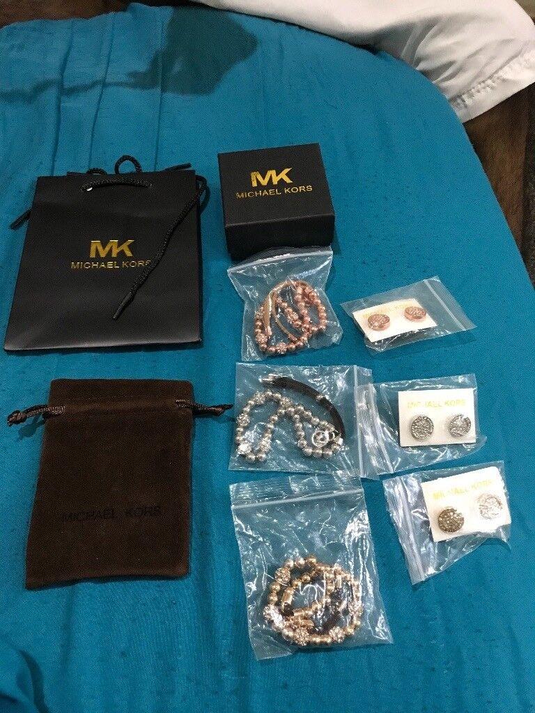 Michael kors bracelet and earrings set- in rose