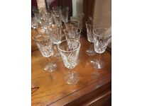 Seven Waterford crystal Lismore cut Sherry glasses