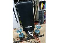 Sit up bench plus 18kg dumbbell set and abdominal wheel