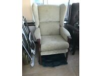 Wingback Upright Fireside pair of chairs and footstool