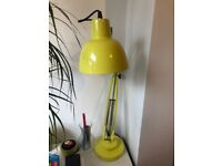 Yellow Anglepoise style desk lamp