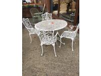 Wrought iron ornate garden set five piece