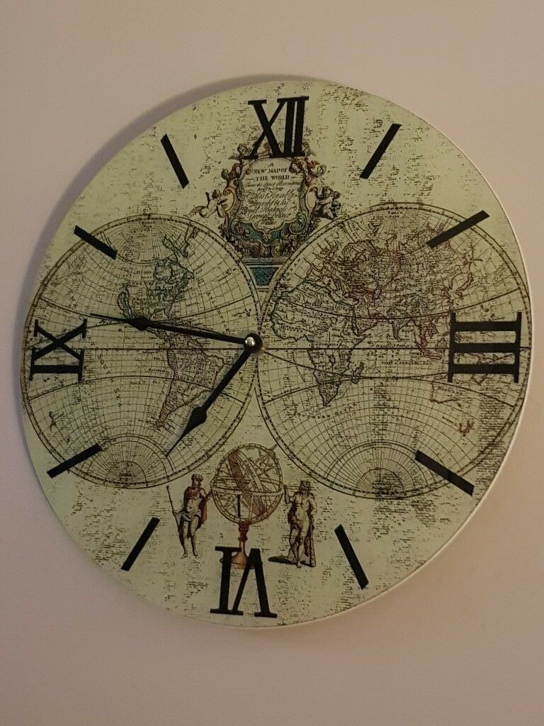 Beautiful old style world map wall clock 38cm brand new in box in beautiful old style world map wall clock 38cm brand new in box gumiabroncs Gallery
