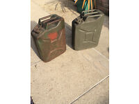 Two WW2 World War British Army Jerry Cans, All Stamped and Marked. Great Addition to Jeep etc