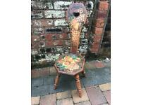 Old Poker Work Painted Fruit Flowers Spinning Chair Turned Legs