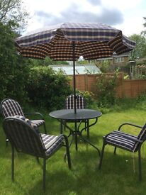 Patio set Kettler mesh 4 chairs table cushions and parasol