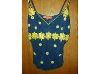 Blue Aftershock top size M blue vintage vest top with sequins and diamante decorations.