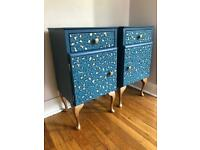 Refurbished bedside tables with decoupage