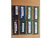 Various laptop memory modules 1GB & 2GB (8 modules in total)