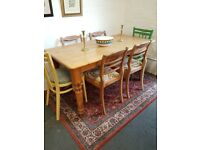 Large solid pine country farmhouse kitchen table and 6 chairs
