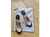 Chanel beige and black sandals with 10cm heel