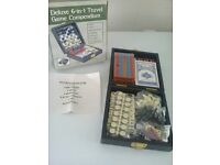 deluxe 6 in 1 travel game compendium brand new box damaged