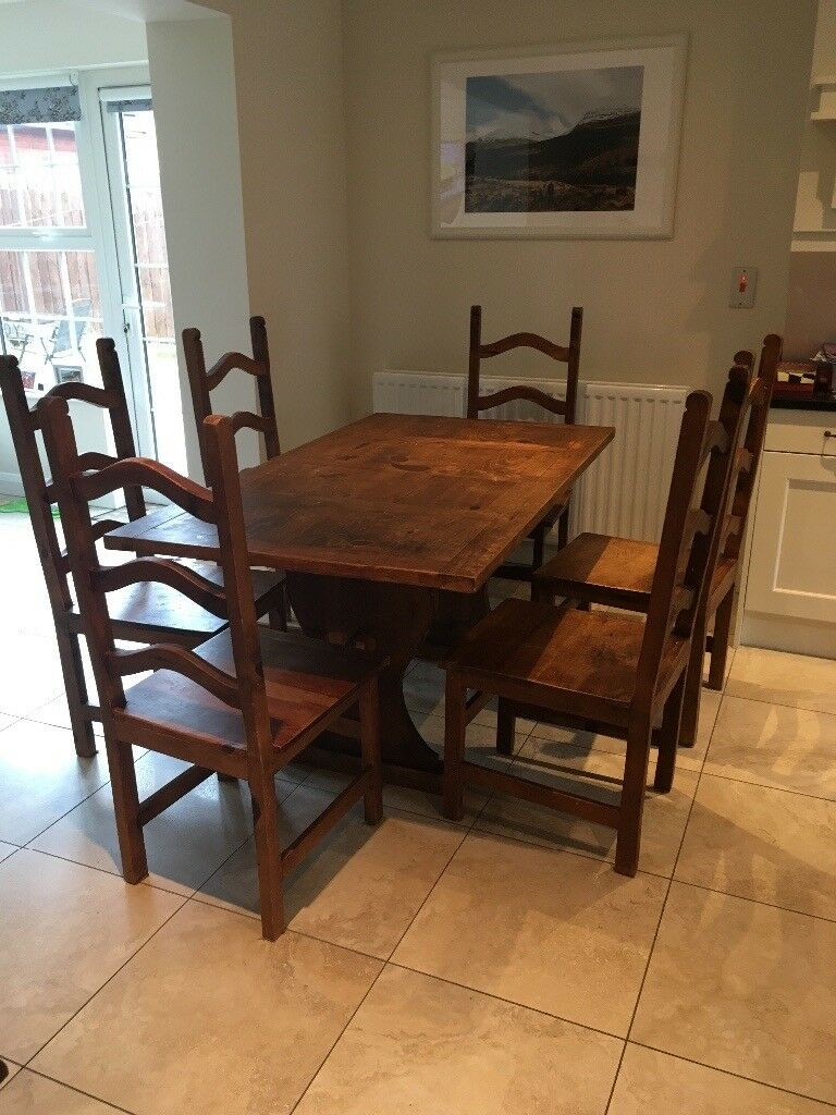 Rustic dining table set and 6 chairs