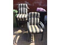 Six patio chairs