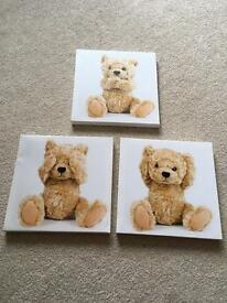 Set of 3 teddy bear canvases