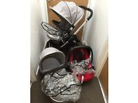 Icandy Peach silver mint pushchair travel system