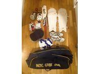 Small Mens/Mens Cricket Equipment (bat, pads, helmet, spikes, gloves, thigh guard, kit bag)