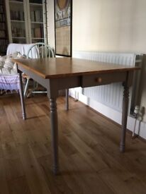 Solid wood dining table. Country kitchen style. Ht 75cm/D 74cm/L 119.5 cm