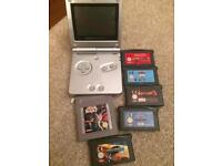 Silver Gameboy sp and games