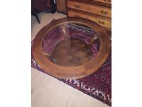 TEAK COFFEE TABLE WITH GLASS TOP AND TWO TIERS