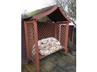 Wooden Garden Arbour 3 Seater Bench Furniture Roof