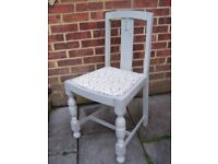 Gorgeous Vintage Dining Chair Painted in Fline Grey and reupholstered in any fabric of your choice