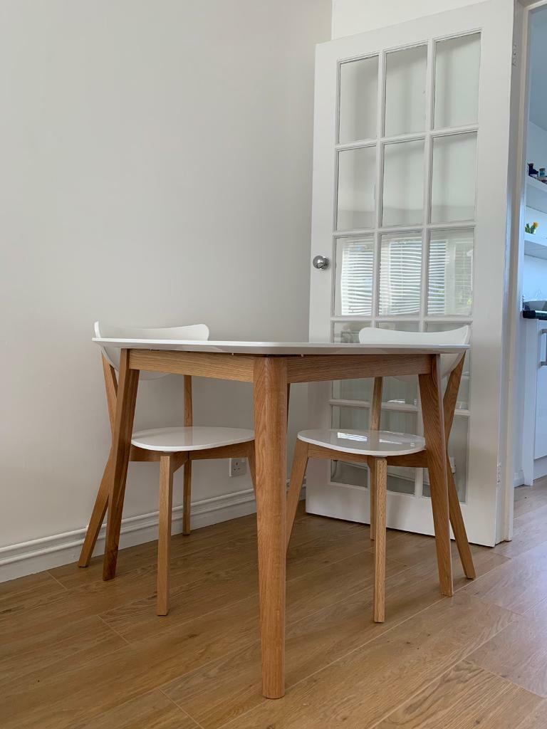 Asda George Gloss White Oak Dining Table And Two Chairs In Folkestone Kent Gumtree