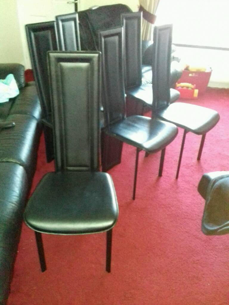 Six Black Dining Chairs